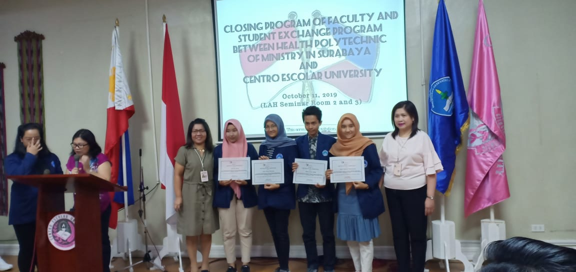 KEGIATAN PERTUKARAN MAHASISWA 2019: FACULTY AND STUDENT EXCHANGE PROGRAM BETWEEN  HEALTH POLYTECHNIC OF MINISTRY IN SURABAYA AND  CENTRO ESCOLAR UNIVERSITY MANILA, PHILIPINES